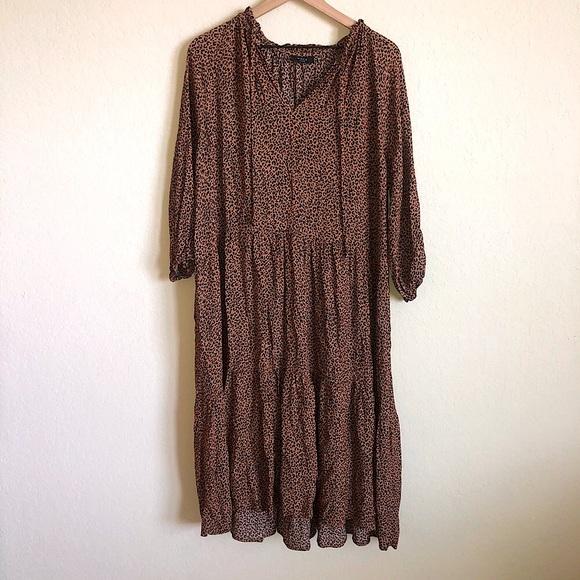 VICI Leopard Print V Neck Tie Tiered Midi Dress